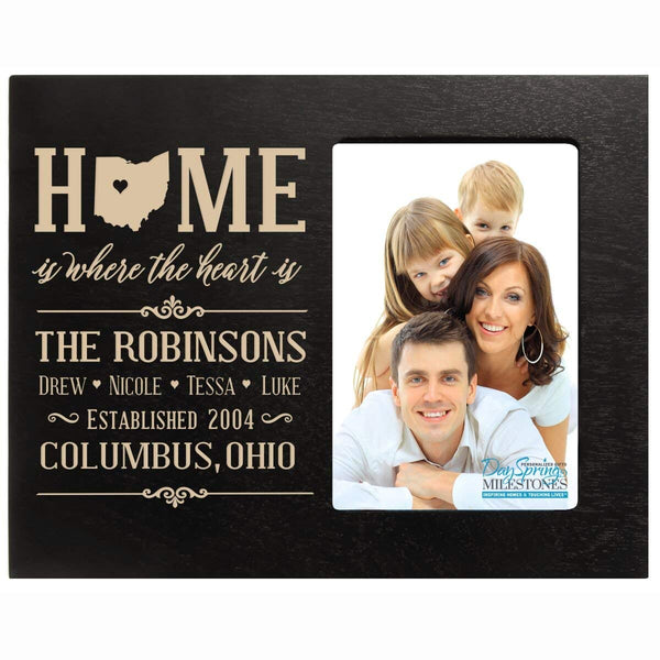 Personalized State Home is Where the heart is picture frame with Family last Name and Year Established with Children's name