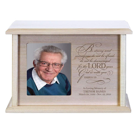 Custom Wooden Cremation Urn with Picture Frame holds 4x5 photo Be Strong