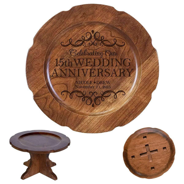 "Personalized 15th Wedding Anniversary Bamboo Cake Stand Gift for Her, Happy 15 Year Anniversary for Him 10"" Custom Engraved for Husband or Wife by LifeSong Milestones"