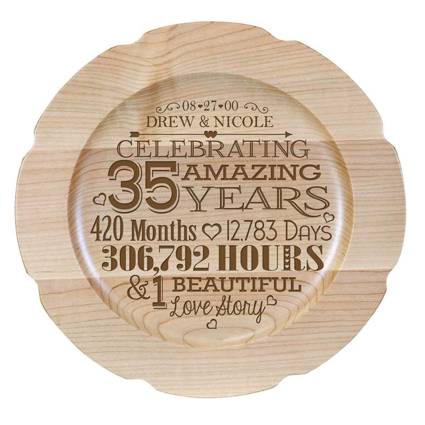 Personalized 35th Anniversary Maple Engraved Plates Dates