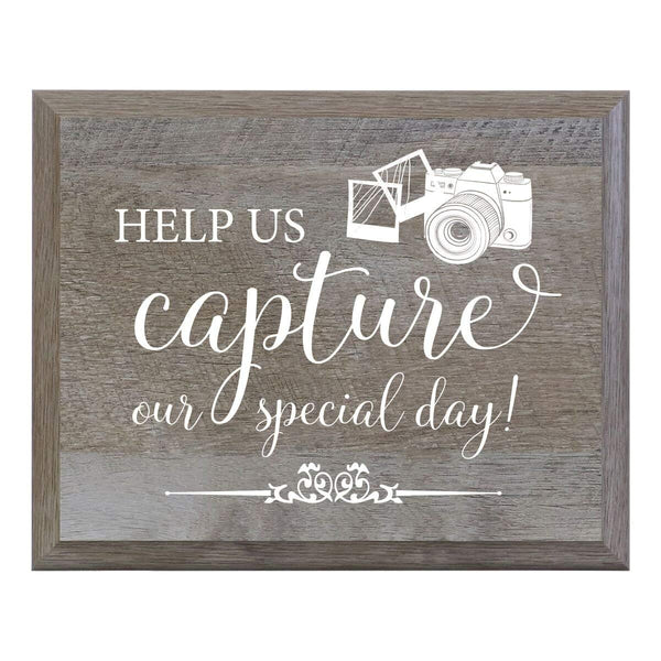 Barn Wood Wedding Party Sign Plaque - Our Special Day Camera