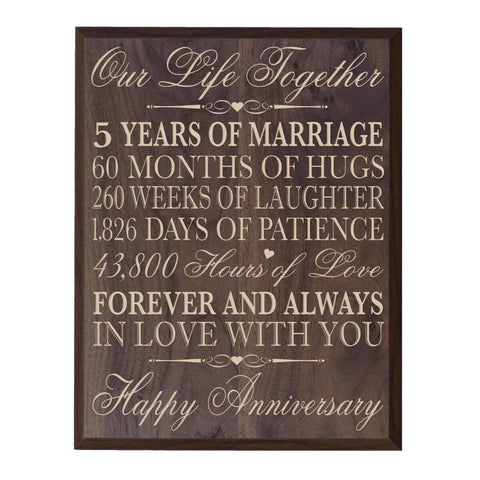 five year gift fifth year 5th for couple wall plaque wall decor grand walnut
