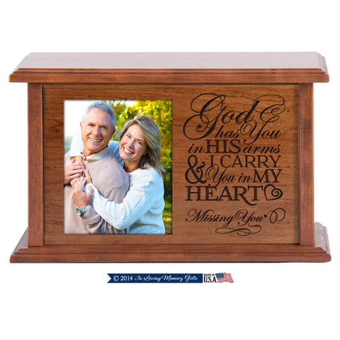 Wooden Cherry Cremation Urn for Adult Ashes God Has You in His Arms & I Carry You in My Heart Hand Finished for in Home or Niche At Columbarium