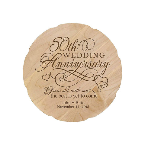 Personalized Wedding Anniversary Engraved Maple Platter 50th Anniversary