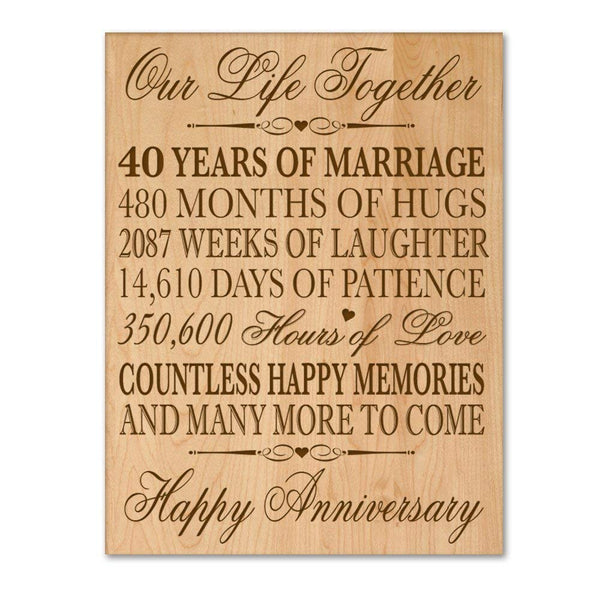 "Engraved 40th Wedding Anniversary Wall Plaque for Couple 12"" W X 15"" H Wall Plaque By LifeSong Milestones"
