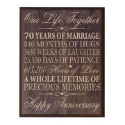 70th Wedding Anniversary Wall Plaque - Our Life Together