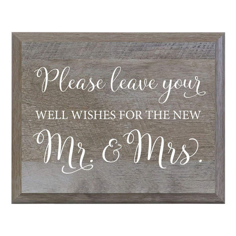 Please leave the Well Wishes for the New Mr and Mrs. Decorative sign
