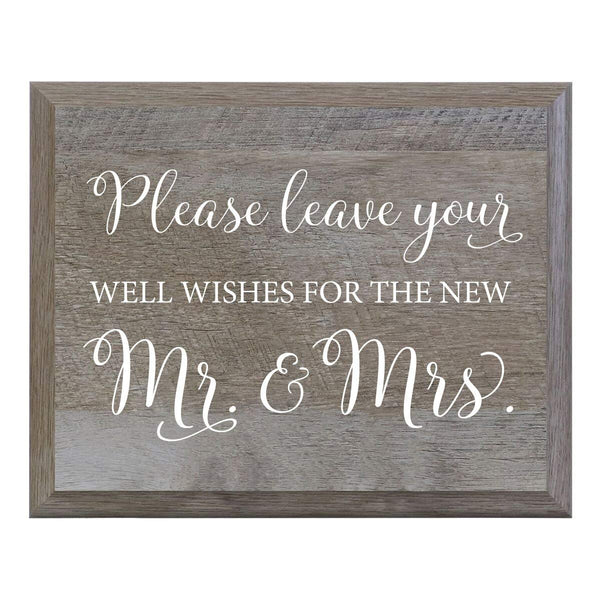 LifeSong Milestones Please leave the Well Wishes for the New Mr and Mrs. Decorative Wedding Party sign for Ceremony and Reception for Bride and Groom (6x8)