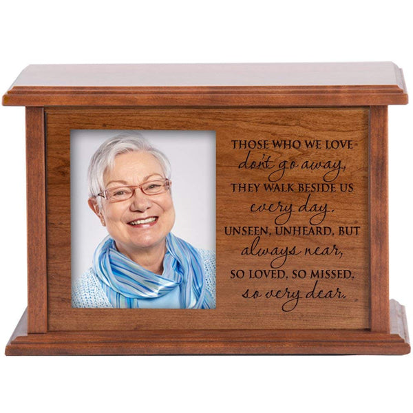"Personalized Photo Cremation Urn for Adult Humans Holds 4x6 Photo Verse ""Those We Love Don't Go Away"" Medium Cherry Finish"