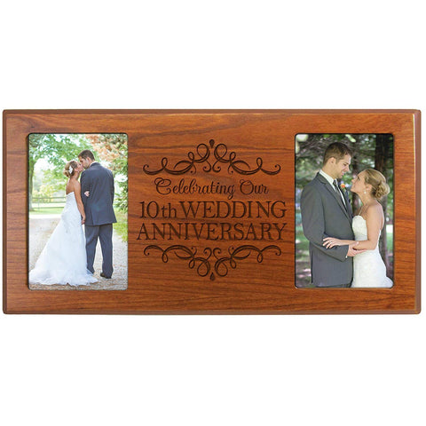 10th Wedding Anniversary Picture Frame Gift for Couple Holds 2- 4x6 Photos 8 Inches High X 16 Inches from LifeSong Milestones