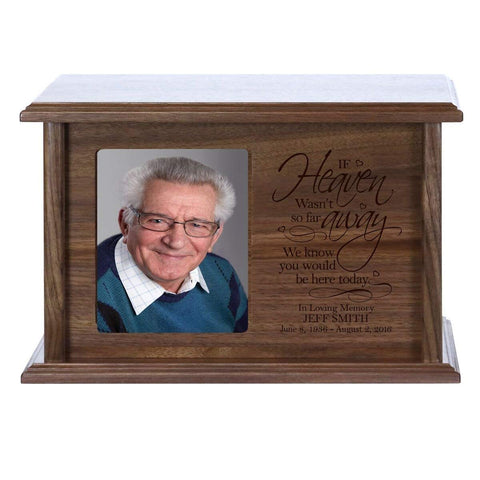 Cremation Urn for Human Ashes Made of Solid Cherry Wood Laser Engraved Verse If Heaven Wasn't So Far Away By LifeSong Milestones