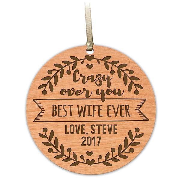 wooden ornament anniversary marriage wedding Christmas gift best wife ever
