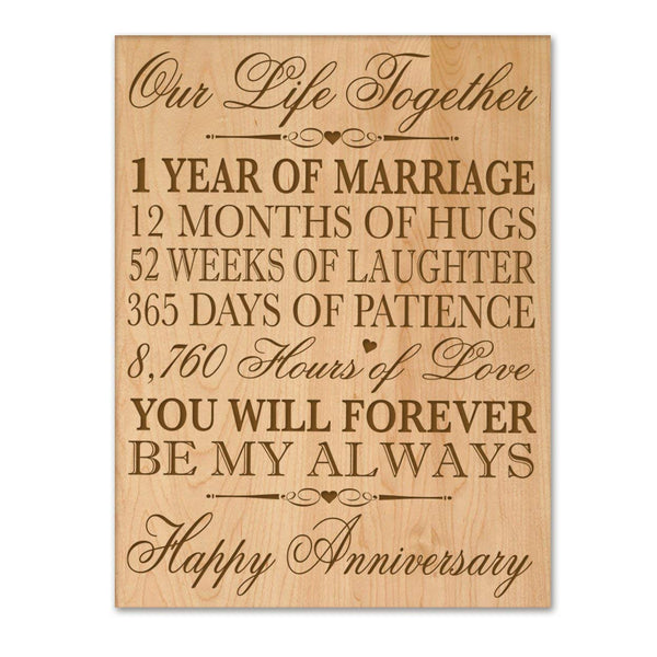 "Engraved 1st Wedding Anniversary Wall Plaque 12"" W X 15"" H By LifeSong Milestones"