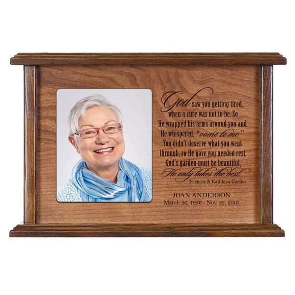 Cremation Urn for Human Ashes Made of Solid Cherry Wood Laser Engraved Verse God Saw You Getting Tired By LifeSong Milestones