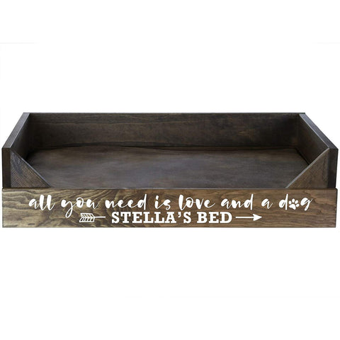 Personalized Dog Beds - Walnut All You Need Is Love