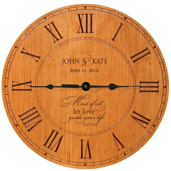"Wedding Clock or Anniversary Clock Personalized ""Most of All Let Love guide your Life"" Col 3:14"
