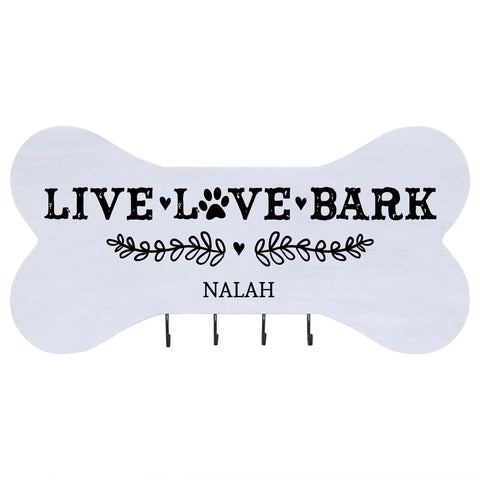 Personalized Dog Bone Sign With Hooks - Live Love Bark