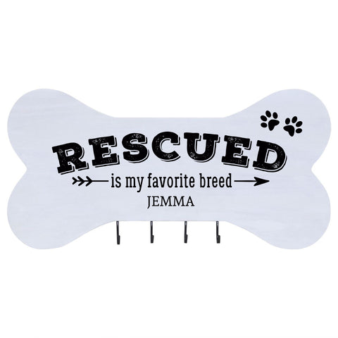 Personalized Dog Bone Sign With Hooks - Rescued Is My Favorite