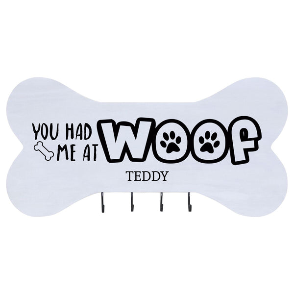 Personalized Dog Bone Sign With Hooks - White You Had Me At Woof