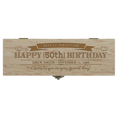 "LifeSong Milestones Personalized Wine Bottle Box with Latch - Happy Birthday - Birthday Home Decoration Special Occasion Gft 14.5"" x 4"" x 4.75"