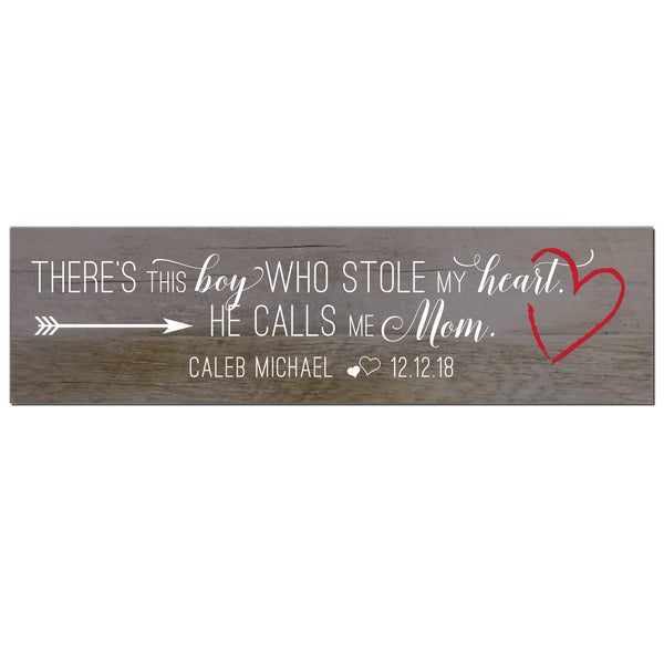 Personalized Mother's Day Barn Wood Sign Gift - There's This Boy