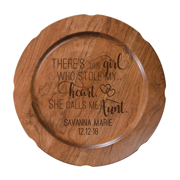 Personalized Mother's Day Cherry Wooden Plates - There's This Girl Aunt