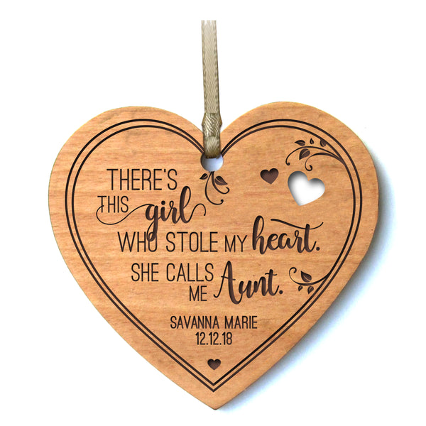 Personalized Mother's Day Heart Ornament Gift - There's This Girl Aunt