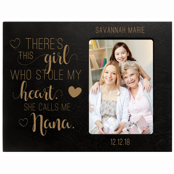"Personalized Mother's Day Frame 4"" x 6"" Photo There's This Girl Nana Black"
