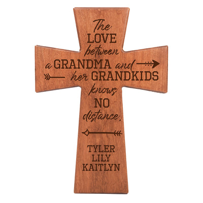 "LifeSong Milestones Personalized Mother's Day Gift From Son, Grandson, Nephew Solid Wood Cross Family Keepsake 12""x17"" Grandma The Love Between"