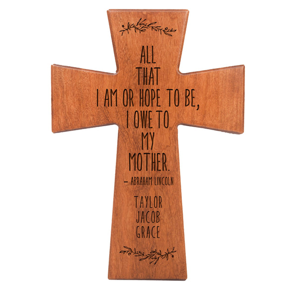 "LifeSong Milestones Personalized Mother's Day Gift From Son, Grandson, Nephew Solid Wood Cross Family Keepsake 7""x11"" Mom All That I Am"