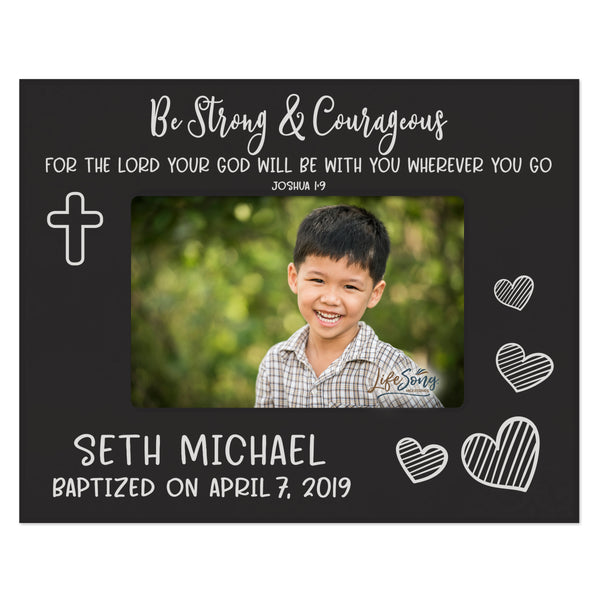 Personalized Baptism Blessing Frame Gift For Child Strong & Courageous