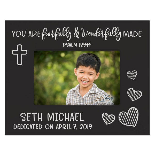 Personalized Baptism Blessing Frame Gift For Child - Wonderfully Made