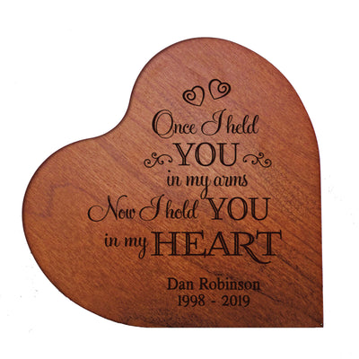"LifeSong Milestones Personalized Memorial Solid Heart Block Once I Held You Bereavement Keepsake Heart Block Loss of Loved One Sympathy Home Decor - 5"" x 5.75"" x 0.75"""