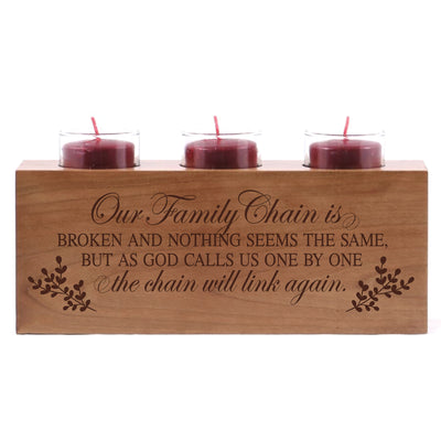 "LifeSong Milestones Memorial Funeral Candle Holder Those Who We Love Don't Go Away engraved cherry wood keepsake ideas for Loved One 10"" L x 4"" H"