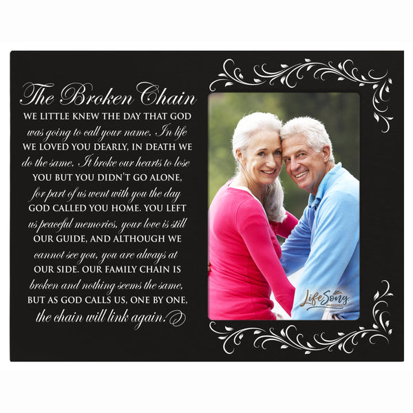 Digitally Printed Memorial Photo Frame - Broken Chain Black