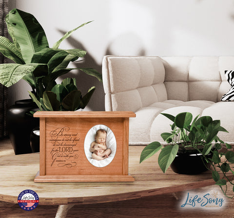 "LifeSong Milestones Personalized Horizontal Cherry Wooden Photo Urn for Human Ashes Urn Keepsake Box -  8.75"" x 6.25"" x 4"" and holds 2x3 photo - 65 cubic inches of ashes -  Be Strong and Courageous"