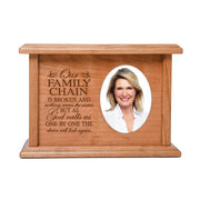 "LifeSong Milestones Personalized Horizontal Cherry Wooden Photo Urn for Human Ashes Urn Keepsake Box -  8.75"" x 6.25"" x 4"" and holds 2x3 photo - 65 cubic inches of ashes -  Our Family Chain Is Broken"