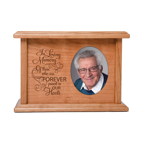 "LifeSong Milestones Personalized Horizontal Cherry Wooden Photo Urn for Human Ashes Urn Keepsake Box -  8.75"" x 6.25"" x 4"" and holds 2x3 photo - 65 cubic inches of ashes -  In Loving Memory"