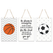 3 Piece Sport Wall Hanging Sign Set Gift For Children - Be Strong