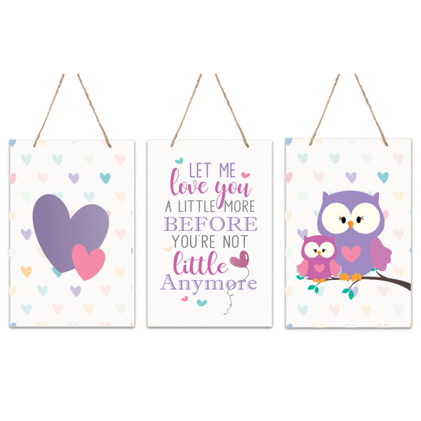 3 Piece Animals Wall Hanging Sign Set Gift For Children Let Me Love You