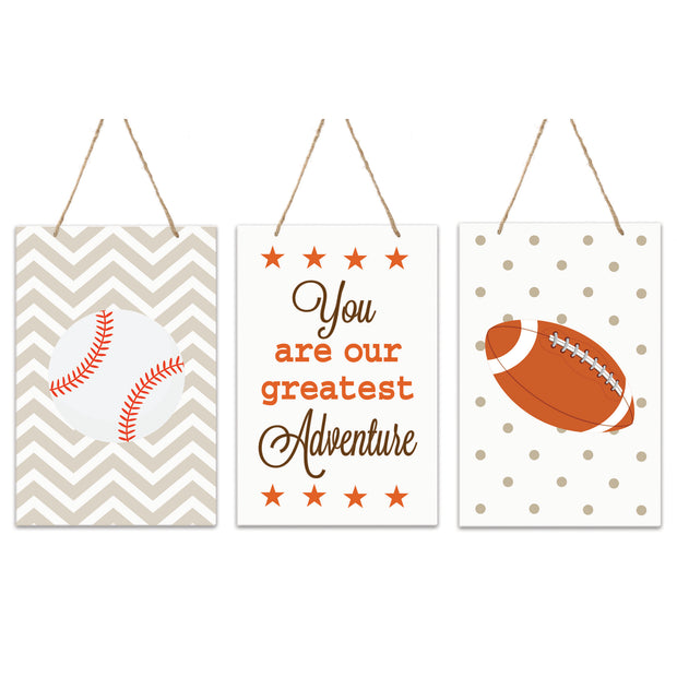 3 Piece Sport Wall Hanging Sign Set Gift For Children - Greatest Adventure