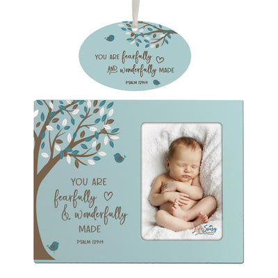 "LifeSong Milestones 8"" x 10"" Picture Frame and Ornament Bundle for Baptism, Holy Communion, or Baby Dedication for Couple Tabletop or Wall Mounting Holds 4"" x 6"" Photo"