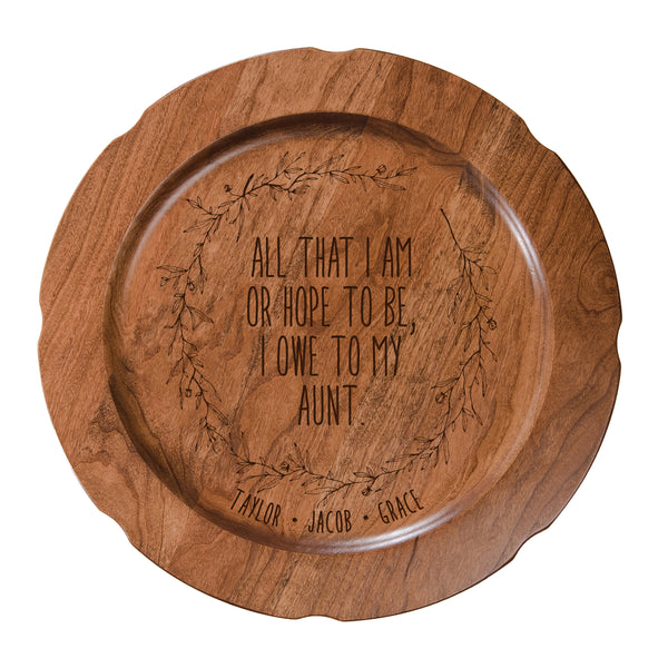 Personalized Mother's Day Cherry Wooden Plates - All That I Am Aunt