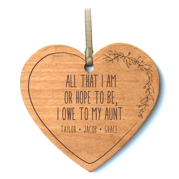 Personalized Mother's Day Heart Ornament Gift - All That I Am Aunt