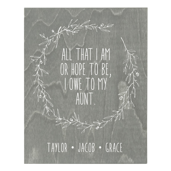 Personalized 8 x 10 Mother's Day Plaque - All That I Am - Grey