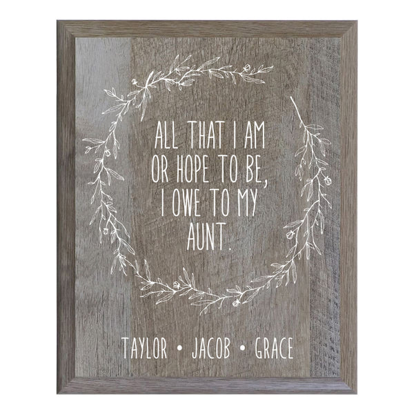 Personalized 8 x 10 Mother's Day Plaque - All That I Am - Barnwood
