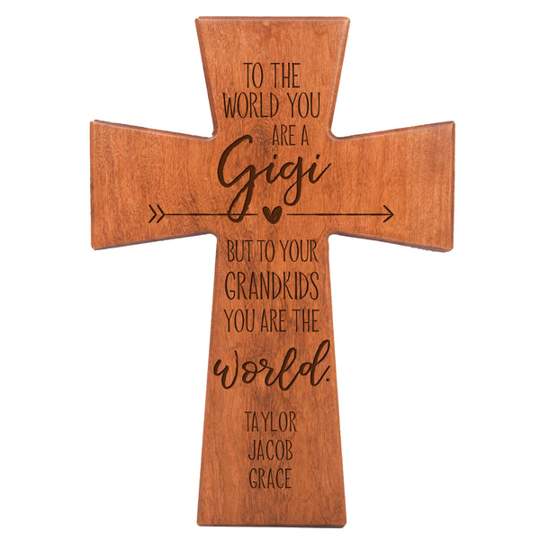 "LifeSong Milestones Personalized Mother's Day Gift From Son, Grandson, Nephew Solid Wood Cross Family Keepsake 12""x17"" Gigi To The World"