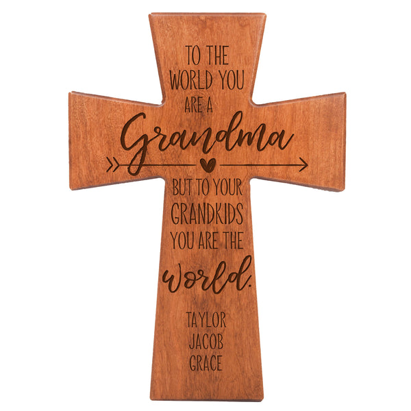 "LifeSong Milestones Personalized Mother's Day Gift From Son, Grandson, Nephew Solid Wood Cross Family Keepsake 12""x17"" Grandma To The World"