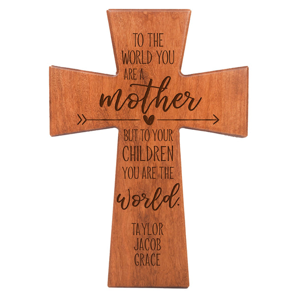 "LifeSong Milestones Personalized Mother's Day Gift From Son, Grandson, Nephew Solid Wood Cross Family Keepsake 12""x17"" Mom To The World"