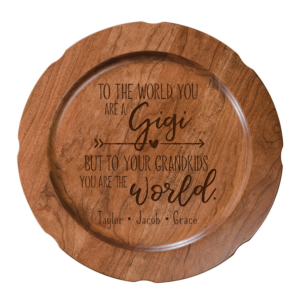 Personalized Mother's Day Cherry Wooden Plates - To The World Gigi